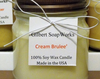 Soy Cream Brulee' Candle // hand poured // gifts for her // wedding gifts // home sweet home