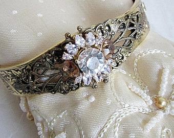 Gold Hinge Bracelet, Hinge Bracelets, Rhinestone Cuff Bracelet, Vintage Rhinestone Flower, Victorian Bracelets, Downton Abbey Style Bracelet