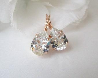 Bridesmaid Earrings, Rose Gold Earrings, Blush Teardrop Earrings,Clear Swarovski Crystal Earrings,Bridal Earrings,Morganite, Clear Crystal
