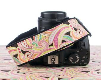 dSLR Camera Strap, Light Pink Paisley, SLR, 042