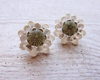 Floral Sea Urchin Post Earrings Flower Stud Earrings