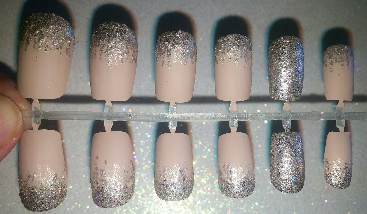 Matte Glitter Fake Nails- Press on Nails- Glue on Nails- Acrylic ...