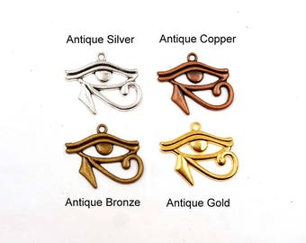 4 Antique Silver, Antique Copper, Antique Bronze Or Antique Gold Eye Of Horus Charms -11-10