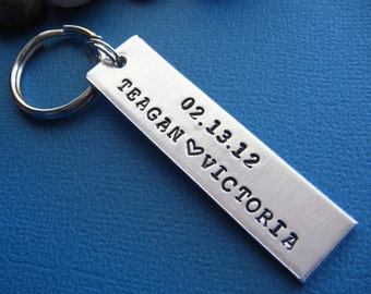 Custom Couples Keychain, Hand Stamped Keychain, Anniversary Keychain, Gift for Her, Gift for Him, Anniversary Gift, Wedding Gift, Couples