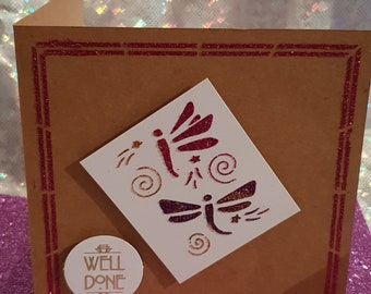 Well done 5x5 Dragonfly glitter card