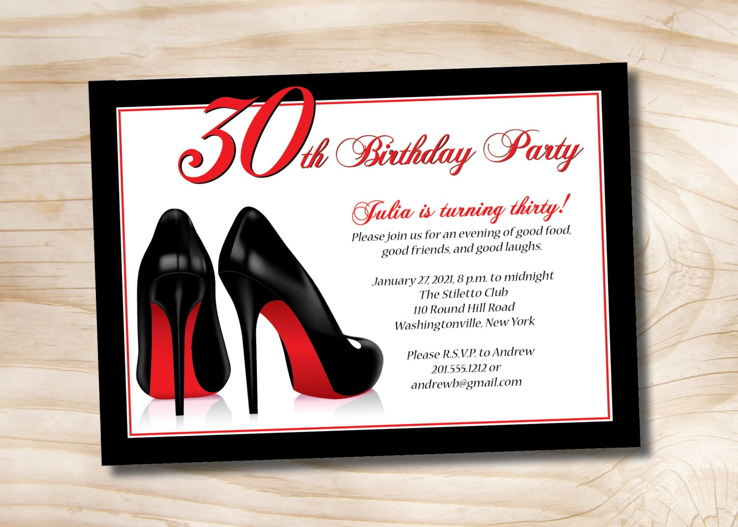 STILETTO SHOES 30th 40th 50th birthday party Invitation