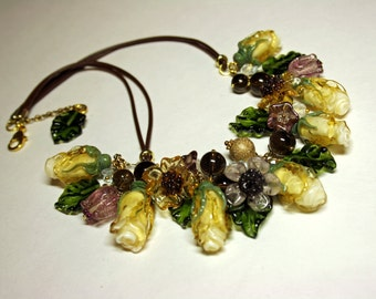 Handmade flower lampwork necklace, glass roses necklace, artisan glass necklace, glass necklace, floral necklace
