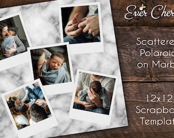 Scattered Polaroid on Marble Printable Scrapbook Page - Photo Digital Collage Storyboard Photographer Template PSD Social Media Blog