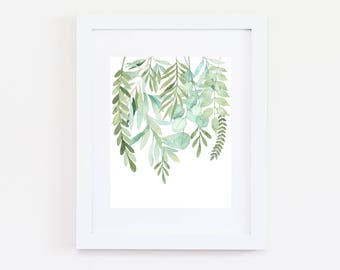 Eucalyptus Leaves | Watercolour Print | Falling Leaves | Watercolour Greenery | Watercolor Botanicals Print | Plants | Foliage | Hanging