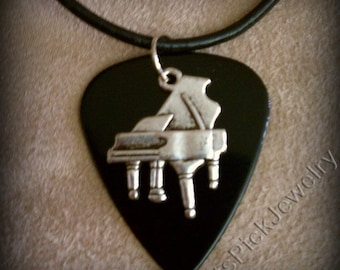 Piano on Black Guitar Pick Necklace