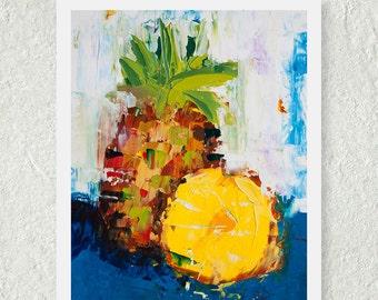 Pineapple Print, Tropical Art Print, Food Wall Art, Still Life Painting, Kitchen Art Decor, Colorful Art Print, Fruit Print, Small Wall Art