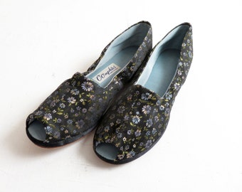 Vintage 50s/60s Floral Brocade Peep Toe Slippers Size 6