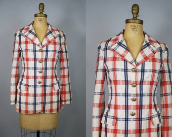 60s Plaid Jacket Womens Cotton Blazer Red White Blue Plaid Fitted Jacket Small