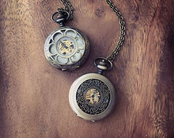 Steampunk Pocket Watch Necklace, Time piece, Antiqued Brass Mechanical Movement Pocket Watch with Flower/ Filigree Lid