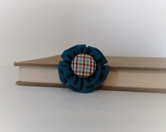 Lapel Pin with Blue Fabric Flower and Covered Button Center