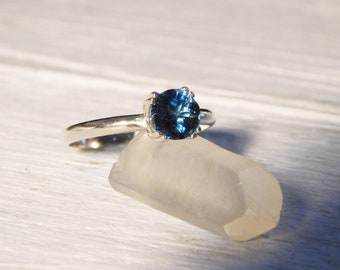 Argentium Silver and London Blue Topaz Ring, Alternative Solitaire Engagement Ring