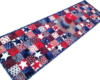 Patriotic Table Runner Quilt,  Red, White and Blue, 4th of July, Independence Day Quilted Table Runner, Quiltsy Handmade Patchwork Quilt