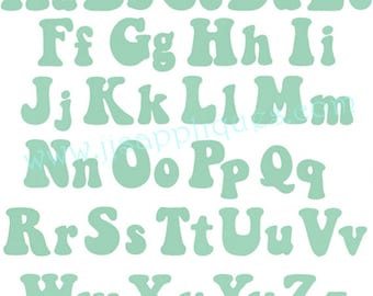 Instant Download - Embroidery Fonts - Keep On Truckin Letters, Capital sizes 3 inch, 2 inch, 1 inch and lower case 2-1/2, 1-3/4, 3/4 inch