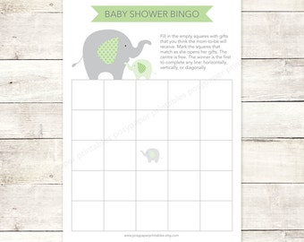 baby shower bingo game card printable DIY elephants bright green grey cute baby digital shower games - INSTANT DOWNLOAD