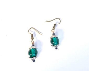 Green glass earrings | elegant earrings | dark green earrings | stained glass earrings | bohemian green dangle earrings | Antique green