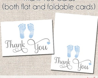 Classic Baby Boy Thank You Cards - Instant Download - Baby Shower Thank You -  Printable Card - Foldable Card