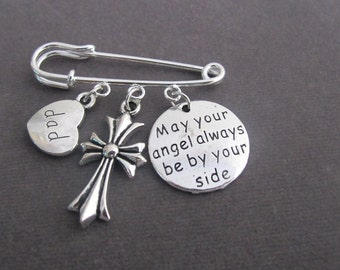 May your Angle always be by your side Kilt Pin, Cross Brooch Jewelry,Cross Memorial Safety Pin Brooch,Remembrance Jewelry, Free Shipping USA