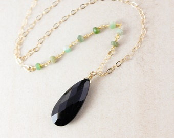 Black Spinel & Green Chrysoprase Necklace - Layering Necklace