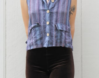Vintage 90s Striped Button Up Collared Tank Top Pockets