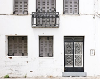 "Architecture art print Greece travel photography gray white black wall art for him ""Monochrome House"""