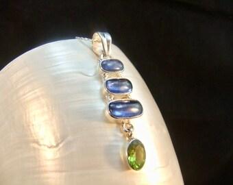 Rare Kyanite & Peridot Sterling Silver Necklace Pendant