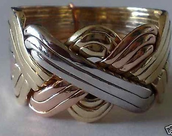 9k tricolored gold 12 babd puzzle ring