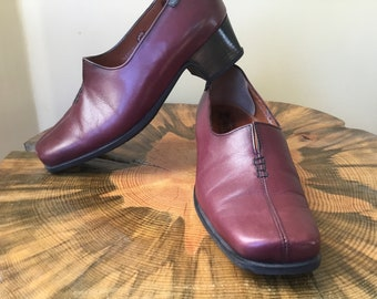 90s Like New Vintage Deal Mephisto Air Relax Brown Leather Square Toe Med Chunky Heel Loafers Shoes Size 4.5 US 7