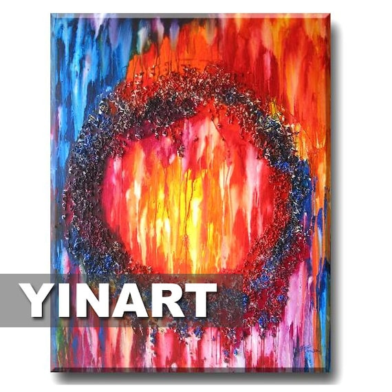 large huge Global Warming Abstract rainbow Landscape painting on canvas - orange red blue pink Art