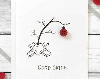 Good Grief/ Unique Holiday Card/ Cute Christmas Card/ Xmas Card/ Modern Christmas Card/ Christmas Card/ Charlie Brown Tree/ Button Card