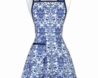 Womens Vintage Apron - Navy Blue Damask Apron - Cute Retro 50s Style Kitchen Apron with Pocket - Over the Head Apron