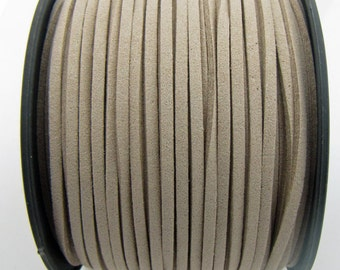 3mm flat faux suede leather cord,beige,3X1.5mm,1-5yards