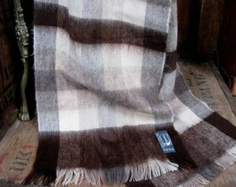 Courtelle Scarf, French Scarf, Brown Scarf, Checked Scarf, Vintage Scarf, Mens Wool Scarf, Vintage Mens Scarf, Plaid Scarf, Check Scarf