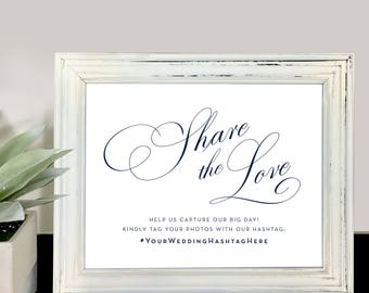 Wedding Sign, Share the Love, Instagram Sign, Wedding Reception Sign, Wedding Printable, Wedding Sign Downloads, Wedding Hashtag