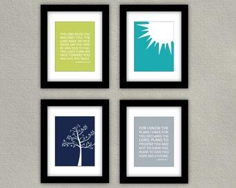 Bible Verse Nursery Art Print Set of 4 - Numbers 6 - Sun Illustration - Tree Illustration - Jeremiah 29:11
