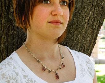Gray & Purple Stone in Silver Necklace