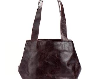 brown leather bag - brown leather handbag - brown leather purse - brown leather tote - leather evening bag - leather evening purse - CSL