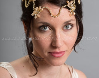 Rhinestone Bohemian Style Headpiece, Champagne Bridal Headband, Wedding Head Wrap - Aspen
