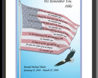 We Remember You, personalized memorial  for veteran, patriot; hand-lettered by Jacqueline M.Shuler,