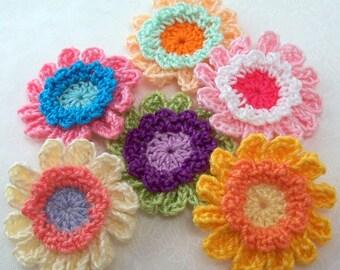 Crochet Fancy Colorful Flower Appliques