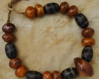 "Old Vintage Golden Honey Amber Dzi Wood Necklace 27"" from Tibet Nepal"