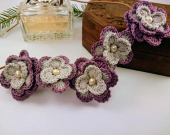 Handmade Necklace for Wife Floral Crocheted Necklace for Woman Flowers Pendant Necklace Gift for Mom