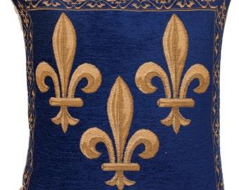 Fleur de Lis Pillow Cover - Fleur de Lis Gift - French Decor Pillow Cover - Blue Chenille Pillow - 18x18 Belgian Tapestry Pillow