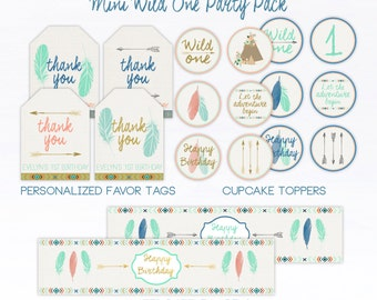 Wild One Printable Party Pack First Birthday Tribal Favor Tags Water Bottle Labels Cupcake Toppers Arrows Boho Teepee Party Pack