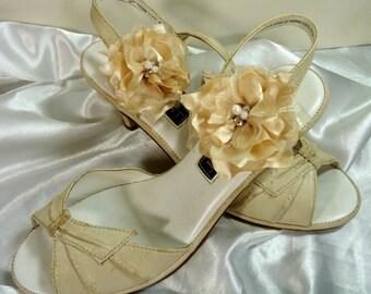 Bridal Shoe Clips, Gold Shoe Clips, Flower Shoe Clips, REX16-204SC