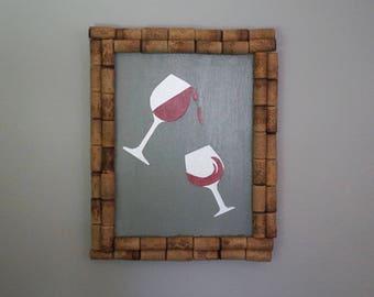 Wine Glass Wall Art, Wine Cork Decor, Wine Cork Art, Red Wine Art, Wine Lovers Gift, Wine Gift, Wine Art, Wine Enthusiast